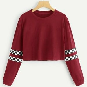 Long Sleeve Checkered Red & White Crop Top